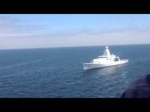 HNLMS Holland 76mm Oto Melara firing