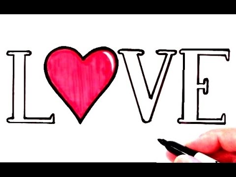 How to Draw LOVE with a Heart - YouTube