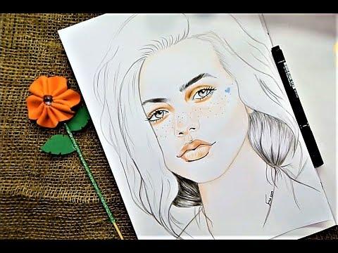 رسم فتاة بنمش بطريقة سهلة وجميلة بالالوان تعليم الرسم للمبتدئين