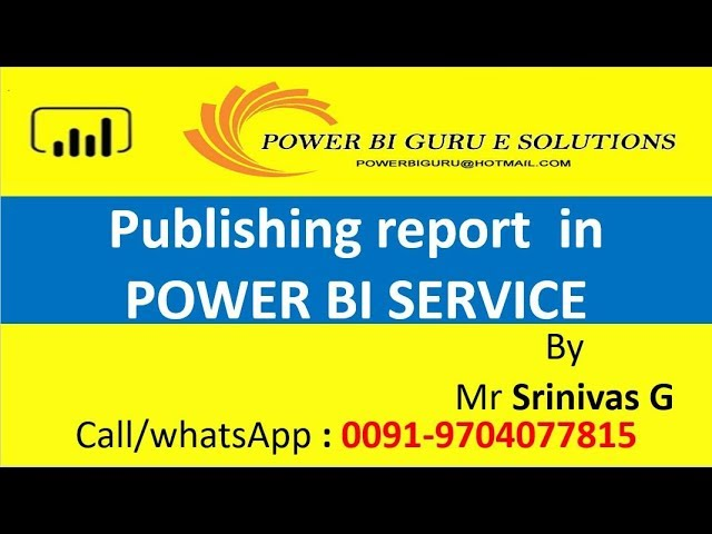 Publishing report in Power BI service | Power BI Online Training | Power BI Guru