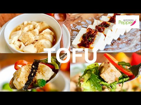 korean-tofu-4-ways-vegan-recipe-mukbang-soodubu,-tofu-salad,-high-protein-meals-tofu-banchan-두부반찬