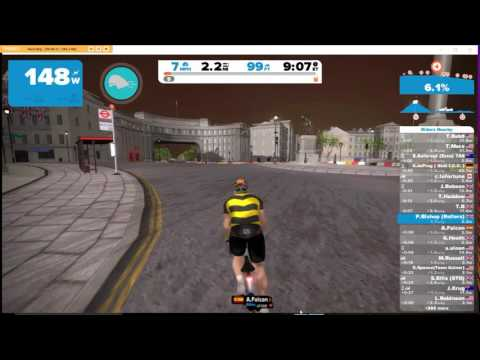 Zwift virtual cycling on rollers London including Box Hill