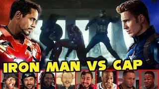 Reactors Reaction To Iron Man Vs Both Captain America & Bucky | Captain America Civil War