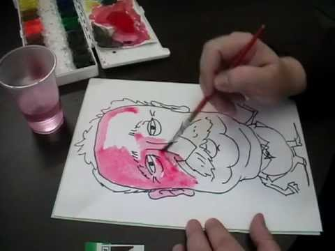 Поэтапное рисование шаржа
