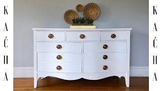 DIY White Dresser Makeover with Chalk Paint / Wood Stain