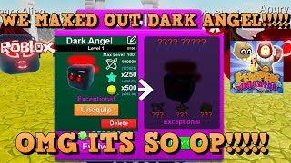 WE MAXED DARK ANGEL AND ITS CRAZY OP !!!!!! Roblox game Pew Pew Simulator