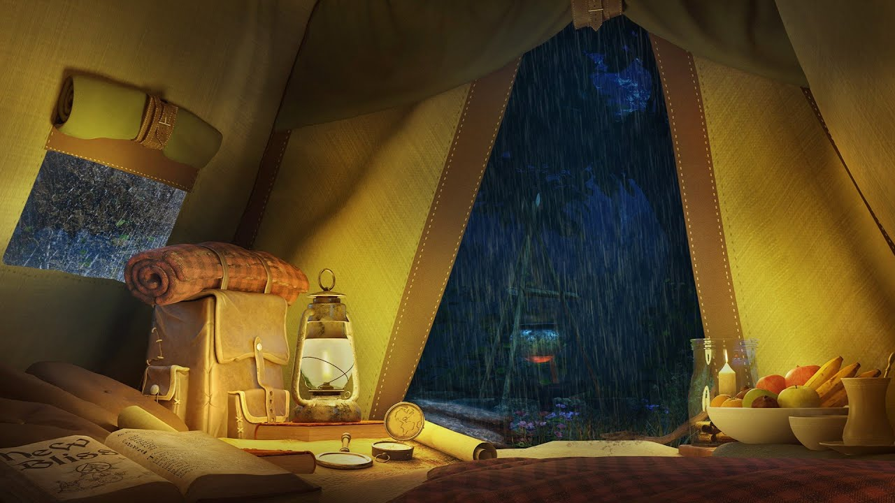 Rain on a Tent - Rain Sounds with Distant Thunderstorm for Sleeping and Relax