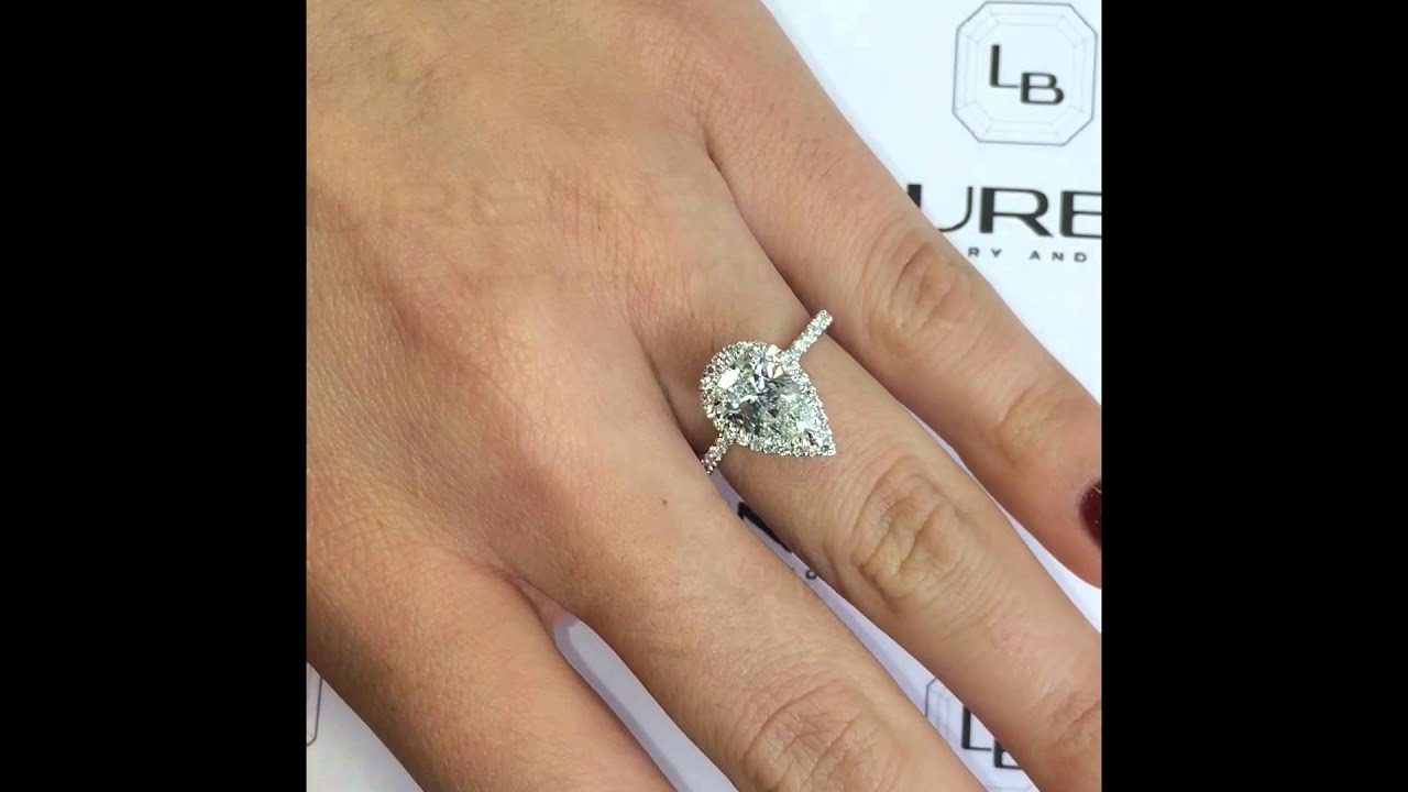 2 Ct Pear Shape Diamond Halo Engagement Ring
