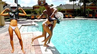 MY GIRLFRIEND KNOCKED ME OUT!! EXTREME POOL NFL FOOTBALL!!