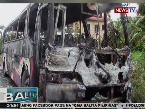 BP: Nakaparadang bus sa Malvar, Batangas, nagliyab