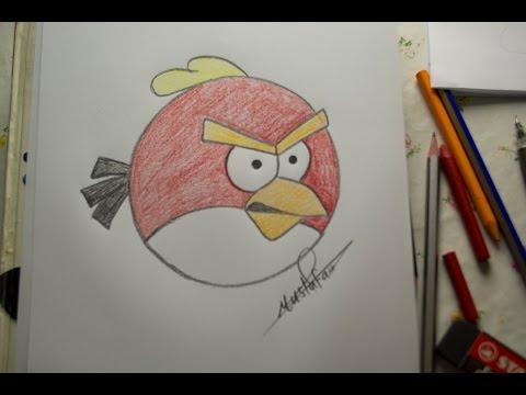 تعلم الرسم - الدرس الرابع كيفية رسم الطيور الغاظبة Angry Bird بالرصاص والالوان مع الخطوات للمبتدئين