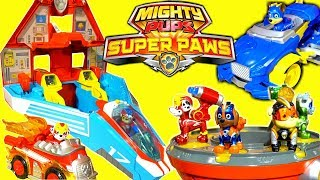 Paw Patrol The Official Mighty Pups Super Paws Toys New Lookout Air Patroller Jet and Vehicles!