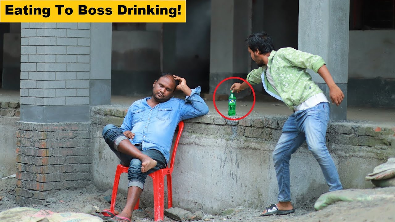 Eating To Boss Drinking Prank Comedy! New Funny Joke Video in 2021