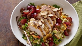 Moroccan Grape and Grilled Chicken Bowl with Preserved Lemon and Green Grape Vinaigrette