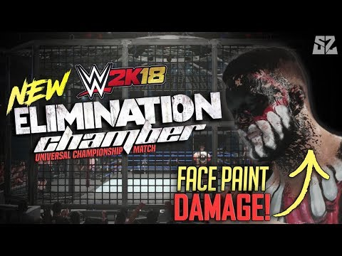 WWE 2K18 : New Elimination Chamber Match! In Game Face Paint Damage! (Exclusive)