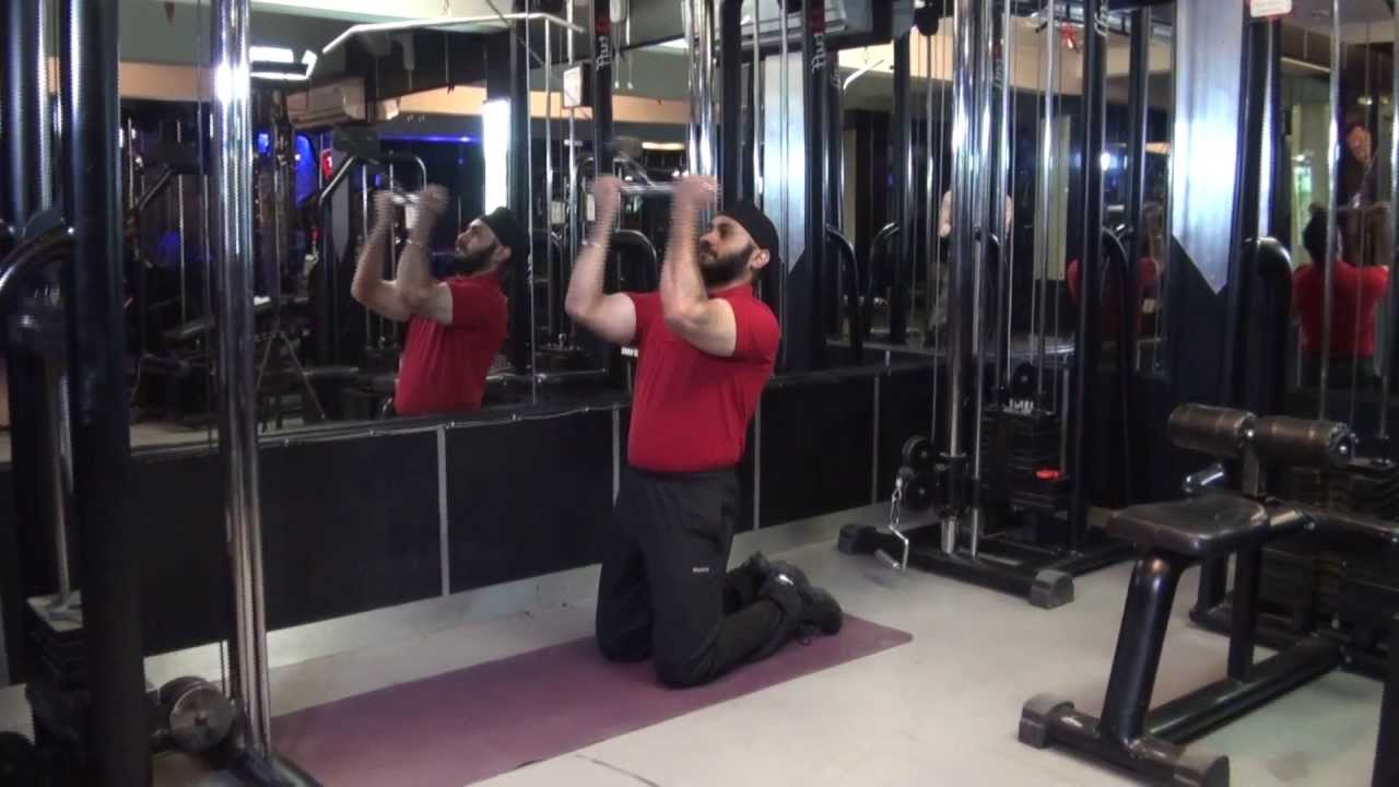 BICEPS - Kneeling High Pulley Cable Curls With Straight ...