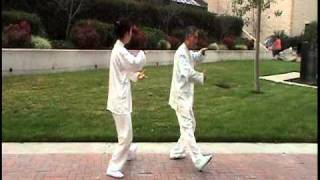 Two people mirror Tai Chi form 16
