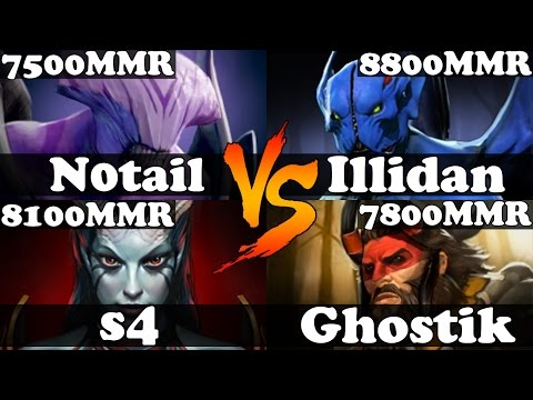 Dota 2 - N0tail And s4 VS Illidan And Ghostik - Ranked Match Gameplay