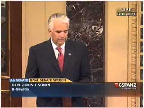 Sen. John Ensigns last Senate Floor speech. (5-2-2011)