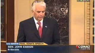 Sen. John Ensigns last Senate Floor speech. (5-2-2011)