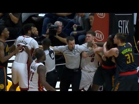 James Johnson Fights Taurean Prince | Hawks vs Heat | February 1, 2017 | 2016-17 NBA Season
