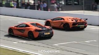 mcLaren 570S Spider vs Aventador SVJ vs 700HP S8 D4 vs 991.2 GT3 - Dragrace