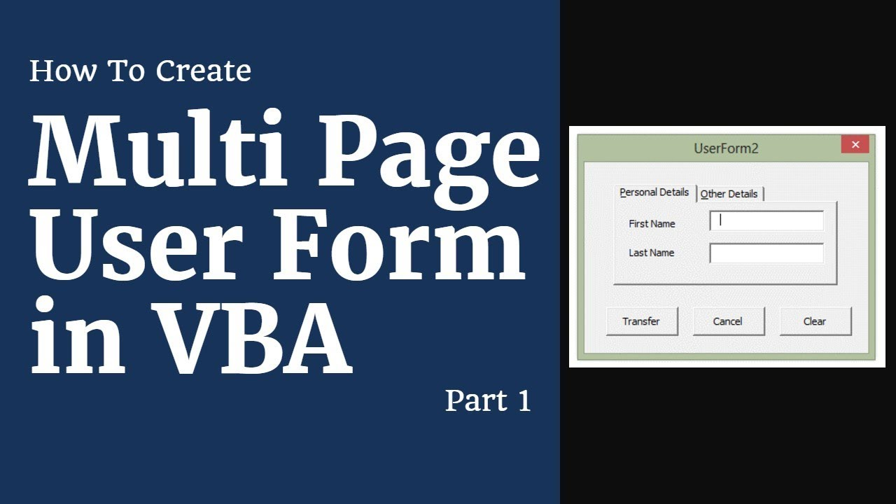 Multi Page User Form - Employee Database | Part 1| Excel VBA