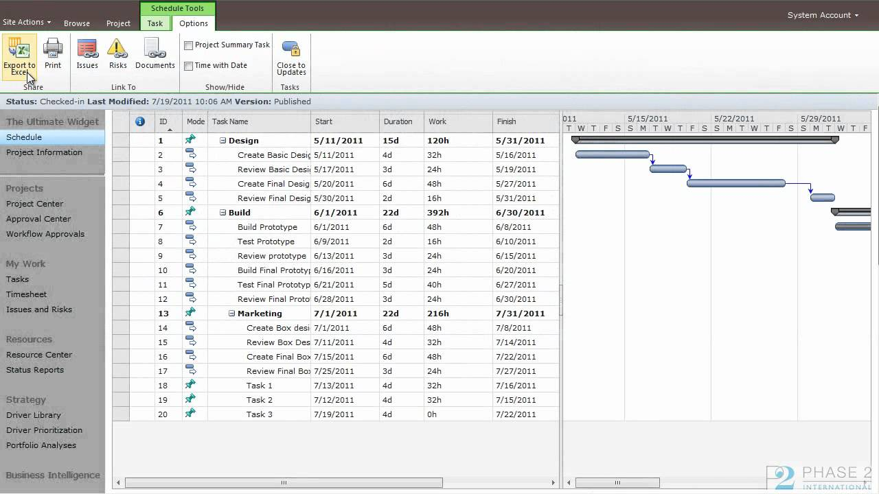 MS Project Server 2010: Exporting to Excel and Printing