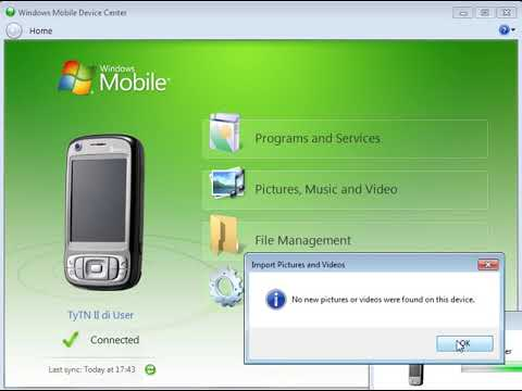 HTC TyTN II p4550 Kaiser windows mobile device center sync connect windows 7 x-64 & driver install