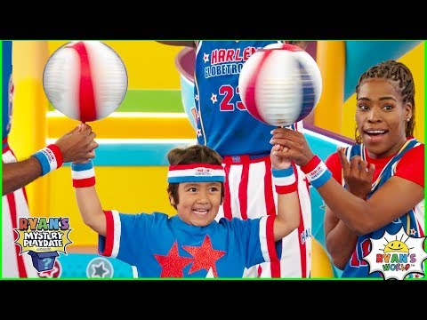 Ryan learns Trick Shots with Harlem Globetrotters on Ryan's Mystery Playdate Episode!!!