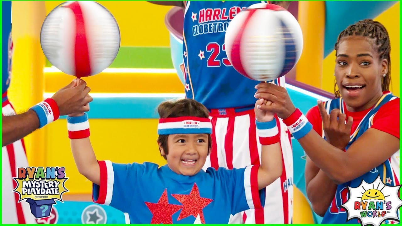 Ryan learns Trick Shots with Harlem Globetrotters on Ryans Mystery Playdate Episode!!!