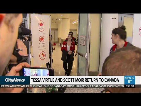 Olympic gold medalists Tessa Virtue and Scott Moir return home