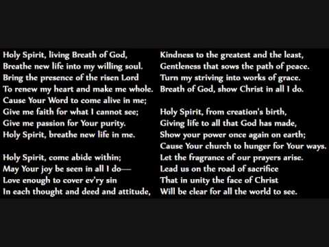 Holy Spirit Living Breath of God lyrics for Keith & Kristyn Getty