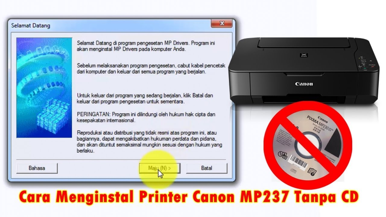 Cara Menginstal Printer Canon Mp237 Tanpa Cd Youtube