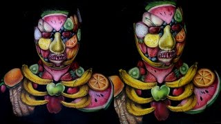 Fruit Monster Makeup Bodypaint Tutorial | Jordan Hanz