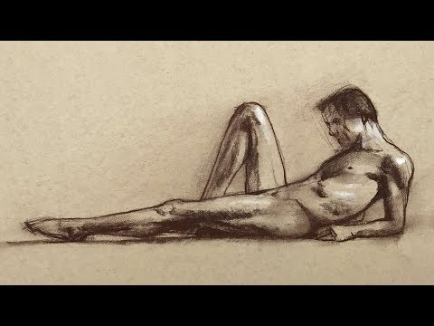 Drawing A Male Figure Model With Pastel Pencils