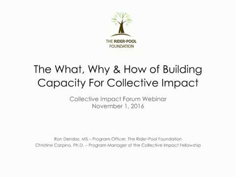 The What, the Why, and the How of Building Capacity for Collective Impact