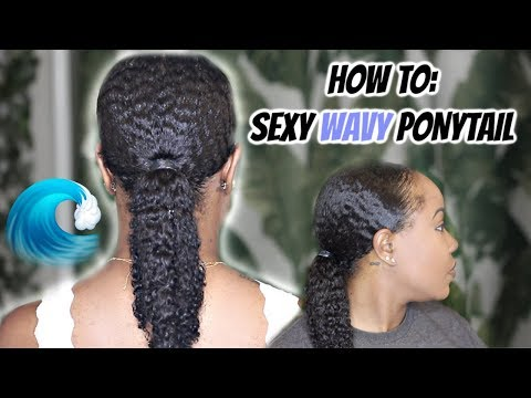 how-to-get-sleek,-shiny,-waves-on-natural-hair-|-wavy-low-ponytail-tutorial