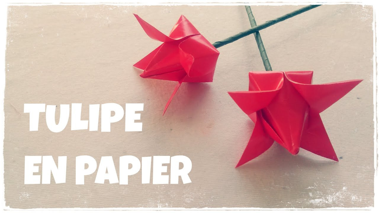Origami facile comment faire une tulipe en papier youtube - Origami rose facile a faire ...