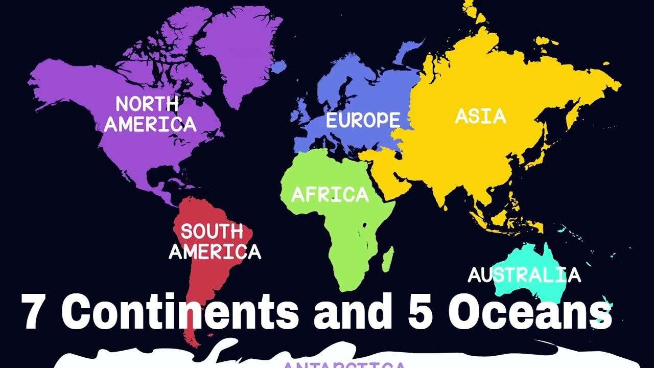Continents And Oceans Of The World Geography For Kids - Five oceans