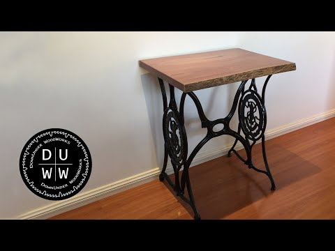 Antique Singer sewing machine stand live edge table
