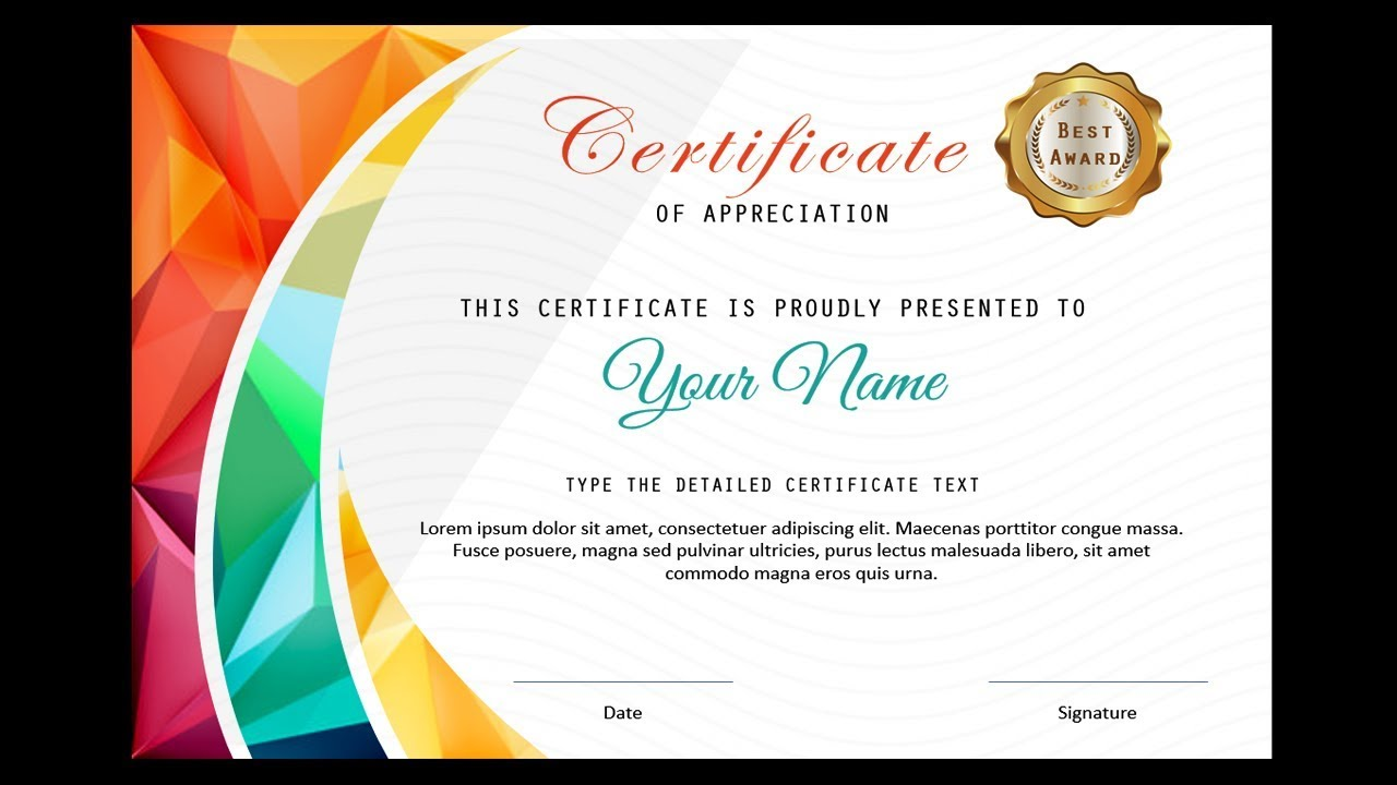 How To Make A Certificate In Powerpoint Professional Certificate Design Free Ppt Youtube