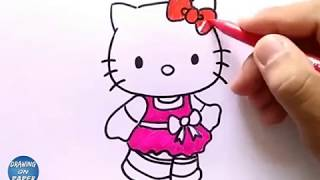 "Very Easy!! How to Drawing ""Hello Kitty"" Cartoon for kids - Drawing doodle art"