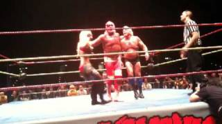 Hulkamania Perth - Hulk Hogan throws Ric Flair, Jimmy Hart pulls down Lacy Von Erich pants