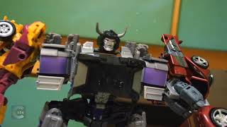 Transformers Stop motion - Prime VS Menasor 柯博文VS飛天虎 Halloween new homemade transformer c