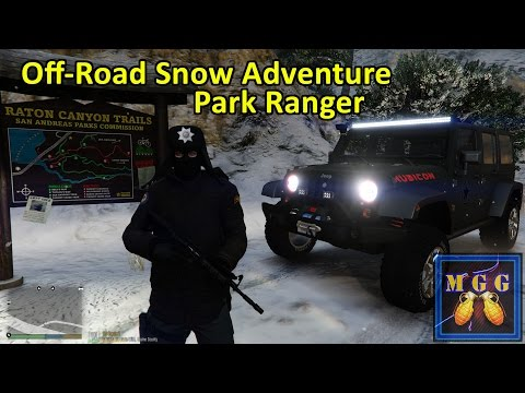 Jeep Wrangler Rubicon Off Road in a Blizzard Park Ranger Patrol GTA 5 LSPDFR Episode 80