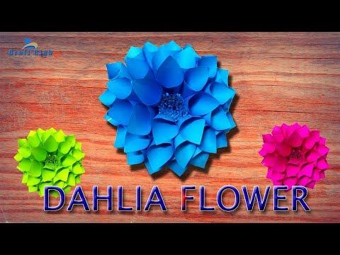 DIY Paper Dahlia Tutorial HD   My Wedding Backdrop Flowers   Dahlia  Wreath   Lina's Craft Club