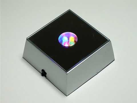 3d Crystal Glass Ornament Display Light Base 3 Led Lb2
