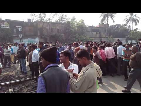 Today Nafarchandra jute mills'workers Train strike,the mill closed last 2 years.....