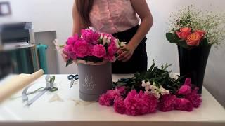Как собрать цветы в коробке | Пионы в шляпной коробке | ArtHolidays